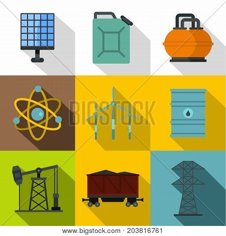 Electricity industry icon set. Flat style set of 9 electricity industry vector icons for web design