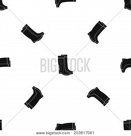 Rubber boots pattern repeat seamless in black color for any design. Vector geometric illustration