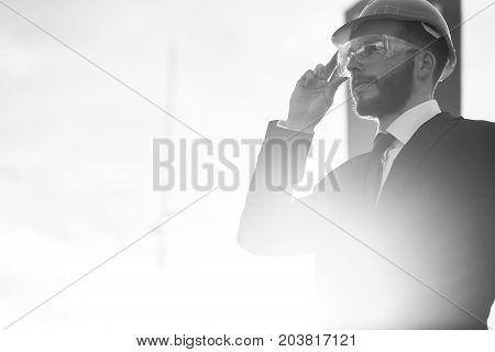 Engineer In A Helmet, Builder In A Helmet, Builder With Glasses