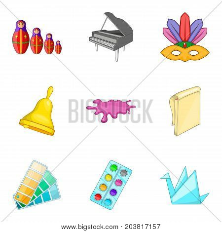 Adeptness icons set. Cartoon set of 9 adeptness vector icons for web isolated on white background