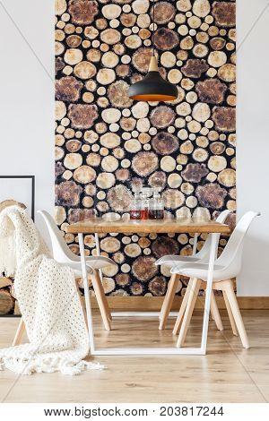 Soft Textiles And Log Wallpaper