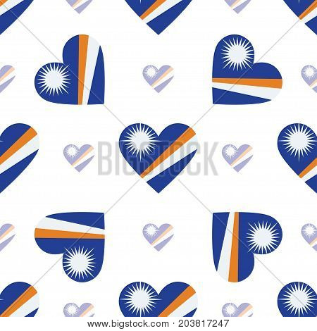 Marshall Islands Flag Patriotic Seamless Pattern. National Flag In The Shape Of Heart. Vector Illust