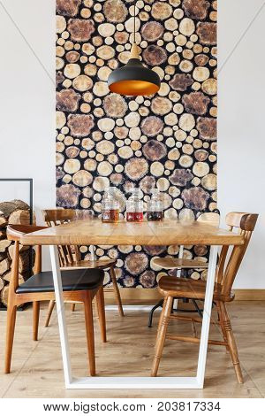 Dining Room With Wood Design