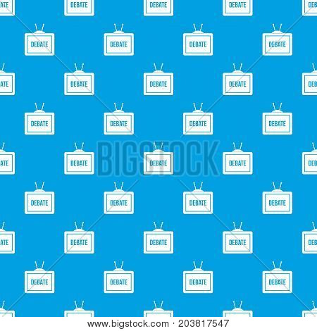 TV with the Debate inscription on the screen pattern repeat seamless in blue color for any design. Vector geometric illustration