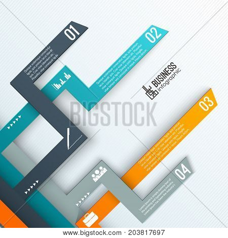 Infographics layout with numbered tabs and business icons arrows and text on textured white background vector illustration