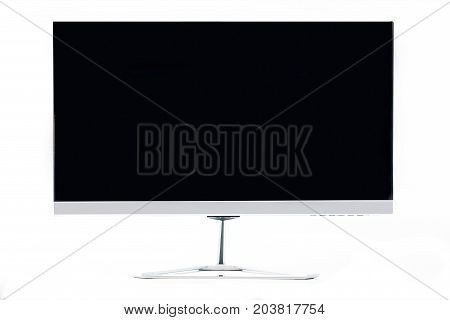 Modern flat computer blank screen monitor isolated on white background