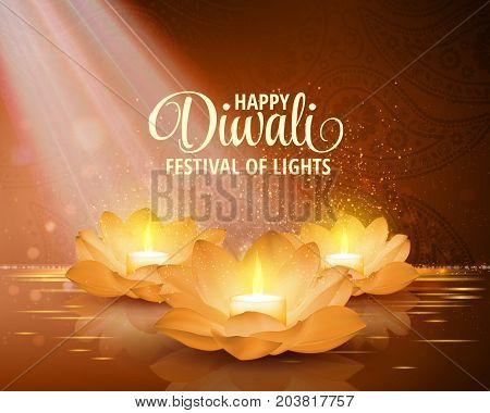Happy Diwali. Vector. Festival of light background. Greeting background with golden lotus flowers and a burning candle inside.