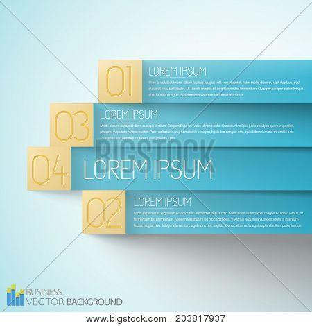 Selection business infographics with blue paper stripes and yellow numbered tags on light background vector illustration