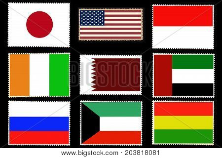 Set of nine flags of the world countries on posted stamps isolated on black background.Official colors and proportion of flags . Creative illustration