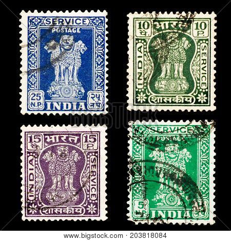 INDIA - CIRCA 1967: Set of used posted stamps printed in India, shows Lion  Capital of Asoka (National Emblem of India), circa 1967