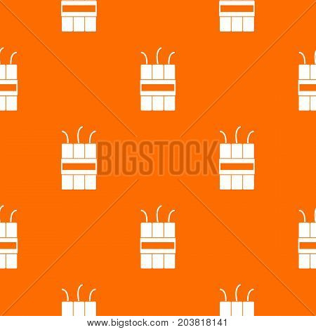 Dynamite explosives pattern repeat seamless in orange color for any design. Vector geometric illustration