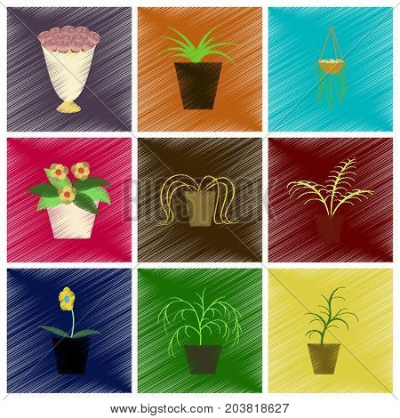 assembly flat shading style icons houseplants nature