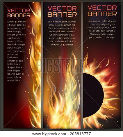 Vector illustration of set of fire flame banner