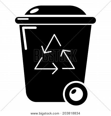 Trash wheelie bin icon. Simple illustration of trash wheelie bin vector icon for web design