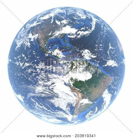 Globe of the Earth - North America and South America behind the clouds 3d rendering elements of this image furnished by NASA