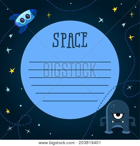 Spaceship background with space for your text in cartoon style. Banner template space, vector illustration