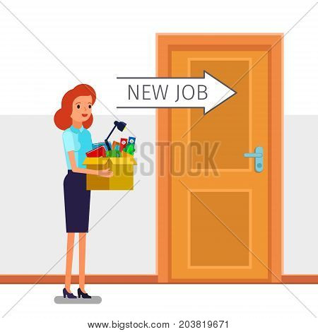 Concept of Welcome to the new job. Young business woman holding a box with her things. Time for a new job. Flat design, vector illustration.