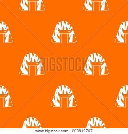 Mine in mountain pattern repeat seamless in orange color for any design. Vector geometric illustration