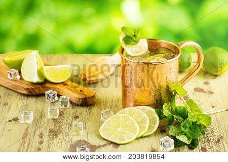 Summer mojito cocktail with lime and mint
