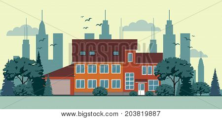 Suburban house, cottage with garden on background. Real estate, property concept. Family home, cabin. Residential building. Exterior front view. Vector illustration. Flat style design