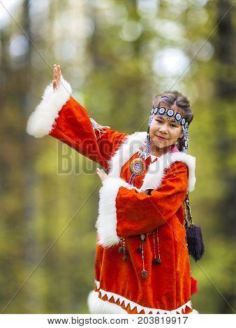 KAMCHATKA RUSSIA - SEPTEMBER 09 2017: Aborigine of Kamchatka dancing on dance marathon. Feast of the Aborigines of Kamchatka