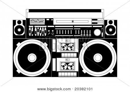 vector image of a classic boombox