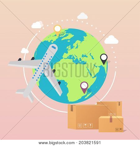 World Wide Delivery. Vector illustration of a world globe an airplane and boxes.