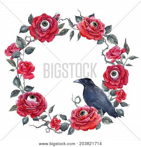 Beautiful halloween wreath with watercolor red roses human eyes and raven