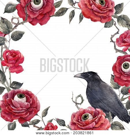 Beautiful halloween frame with watercolor red roses human eyes and raven