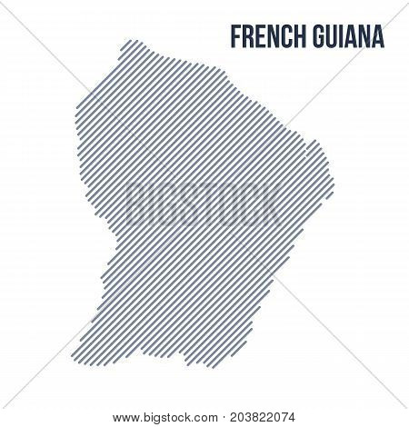 Vector Abstract Hatched Map Of French Guiana With Oblique Lines Isolated On A White Background.