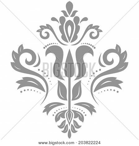 Oriental vector silver pattern with arabesques and floral elements. Traditional classic ornament. Vintage pattern with arabesques