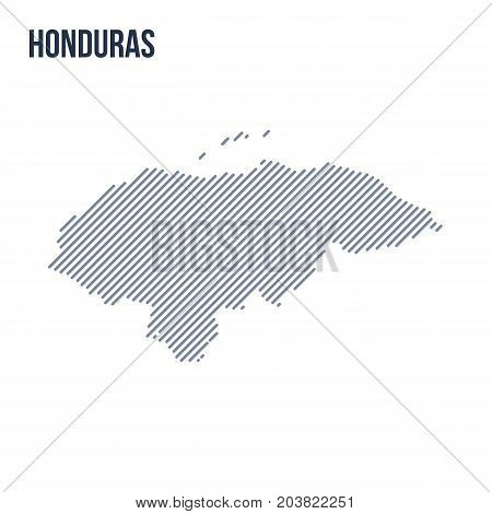 Vector Abstract Hatched Map Of Honduras With Oblique Lines Isolated On A White Background.