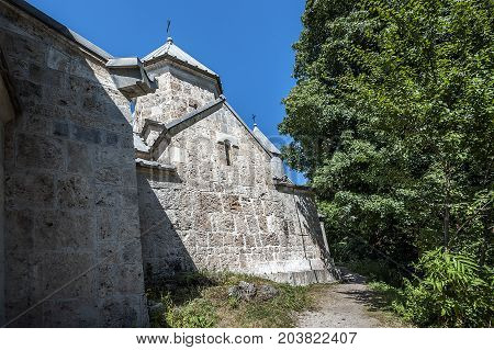 Armenia. The lateral facade of St. Grigor Church of the eleventh century in the monastery of Haghartsin.