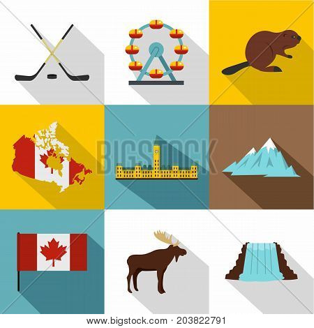Tourism in Canada icon set. Flat style set of 9 tourism in Canada vector icons for web design