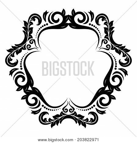 Oriental vector pattern with arabesques and floral elements. Traditional classic black and white ornament. Vintage pattern with arabesques