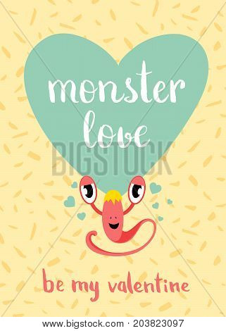 Vector Valentines Day monster love card with blue heart, cute monster and lettering on confetti background. Love banner and poster illustration