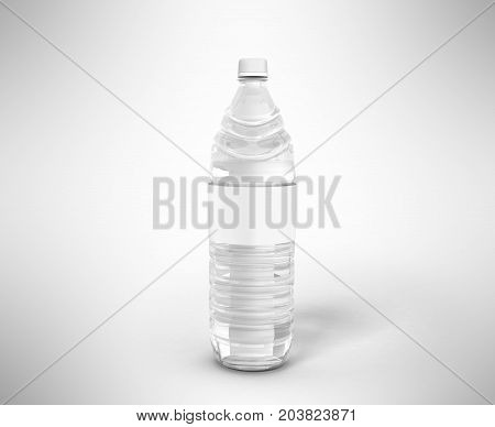 Bottle Of Plastic White With Water 3D Render On Gray Background