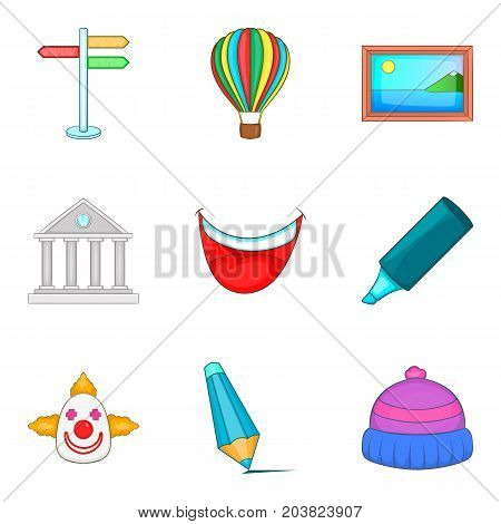 Piece of art icons set. Cartoon set of 9 piece of art vector icons for web isolated on white background