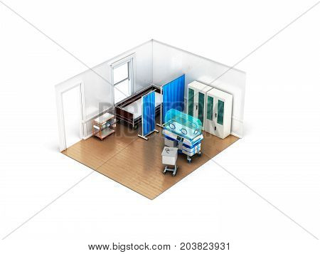 Concept Isometric Chamber With Incubator For Children Bed 3D Render On White Background