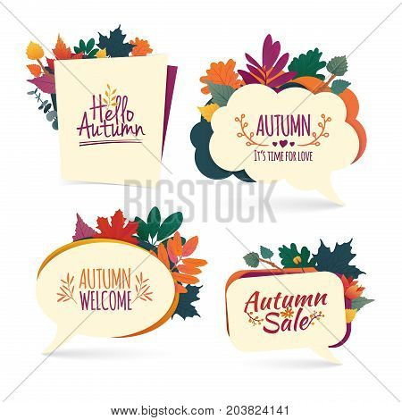 Set autumn bubbles. Design banner with autumn sale and hello logo. Discount card for fall season with herb. Promotion offer with autumnal oak plant, maple leave and flowers decoration.