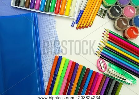 School supplies isolated on white background. Schooling.