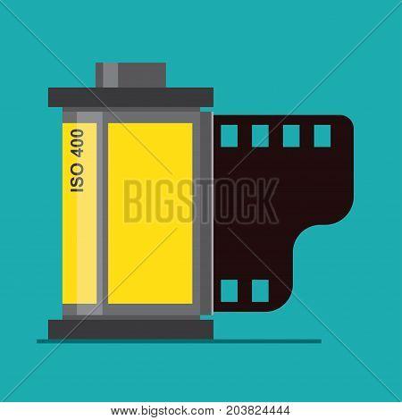 Camera film roll retro photo film in cartridge. Vector illustration