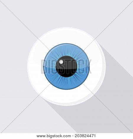 Human eyeball iris pupil. Eye with bright blue Vector Illustration
