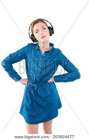 Dissatisfied Girl With Headphones