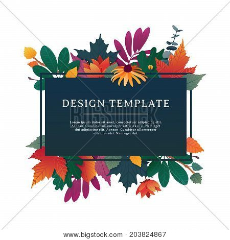 Template design banner for fall season with autumn frame and herb. Promotion offer with autumnal oak plant, maple leave and flowers decoration.