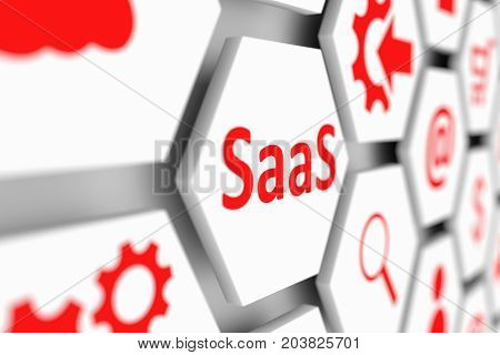 SaaS concept cell blurred background 3d illustration