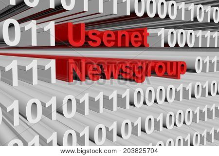 Usenet newsgroup in the form of binary code, 3D illustration