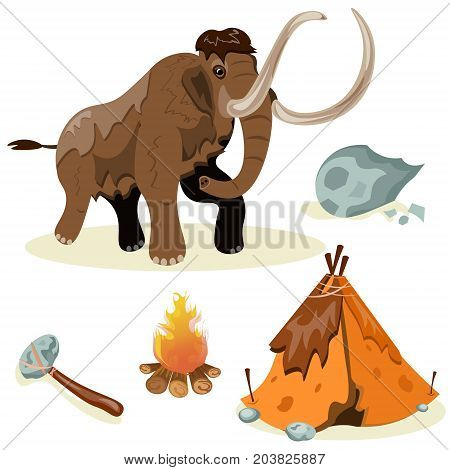Extinct species. Evolution. Hunting Flat design Vector
