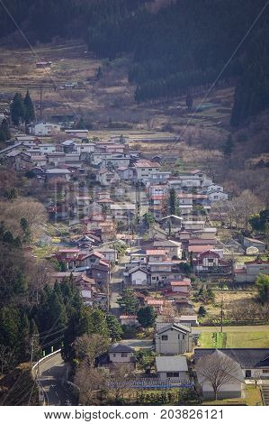 Aerial View Of Onsen Village At Autumn