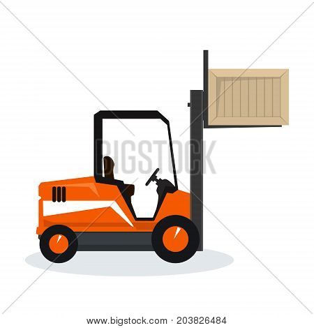 Orange Forklift Truck Isolated on White Background Vehicle Forklift Lifted the Box Up Vector Illustration